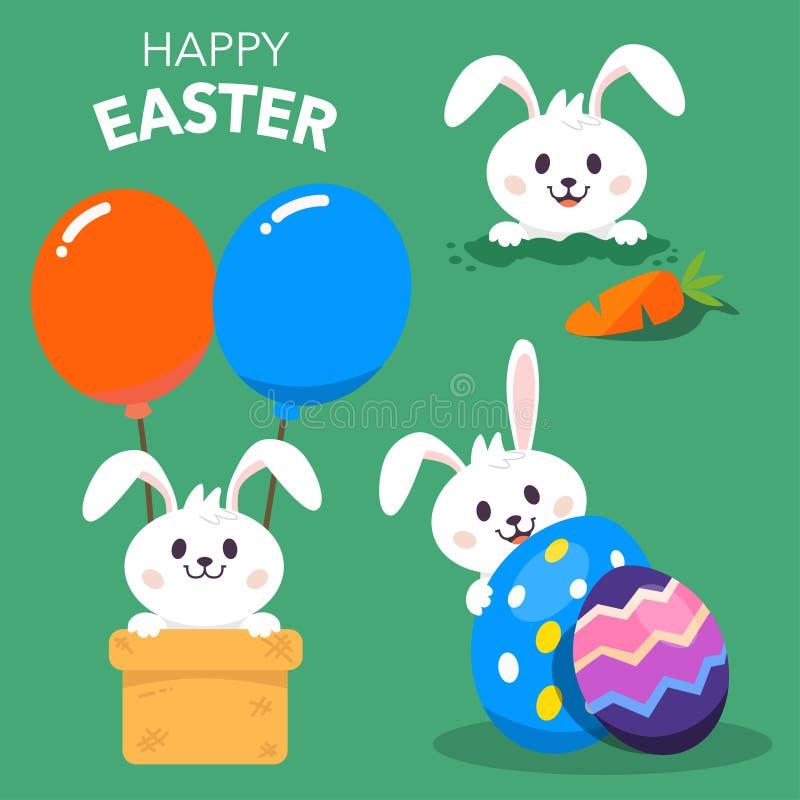 Lycklig påsk med kanin eller Bunny Character stock illustrationer