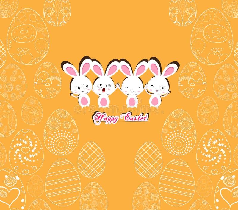 Lycklig påsk med kaninen på den gula bakgrundsmodellen av dekorativa ägg royaltyfri illustrationer