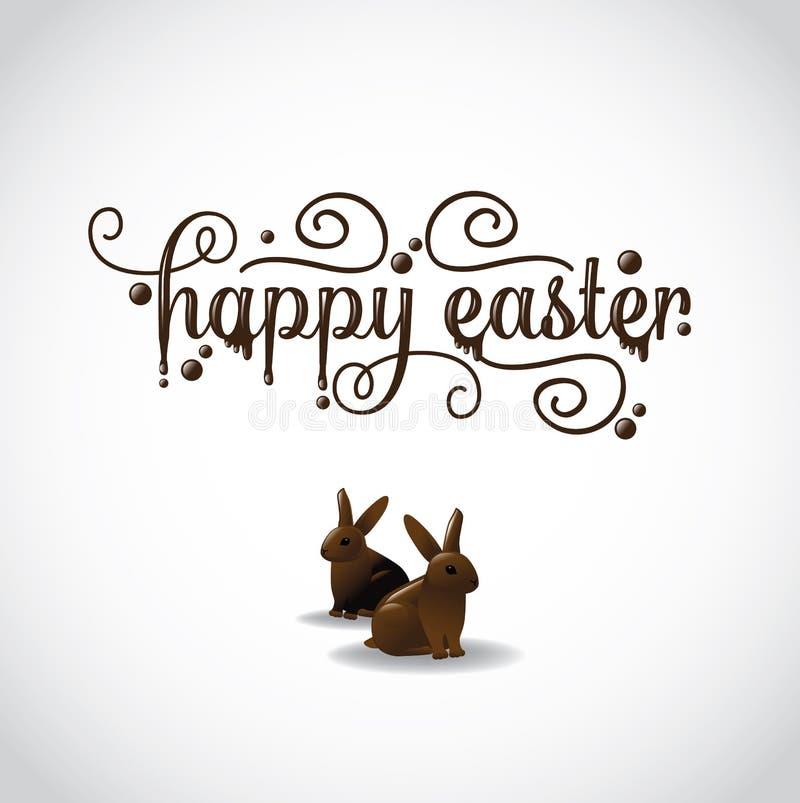Lycklig påsk med två chokladkaniner vektor illustrationer