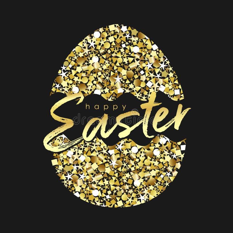Lycklig påsk som skiner guld- lyckönskan stock illustrationer