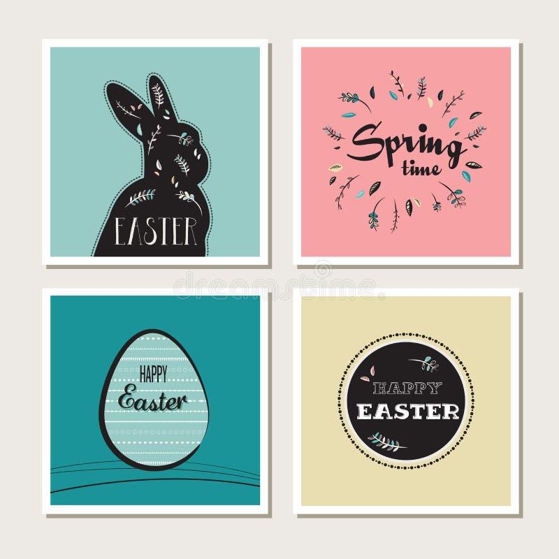 Lycklig påsk - uppsättning av stilfulla kort eller inbjudningar royaltyfri illustrationer