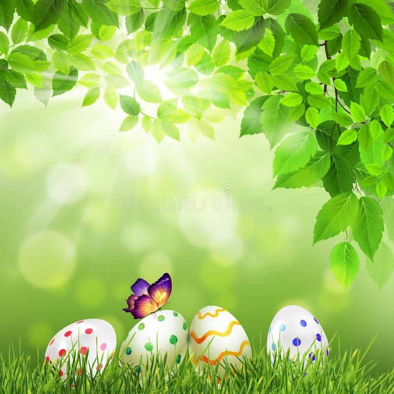 Lycklig påsk, vårbakgrund royaltyfri illustrationer