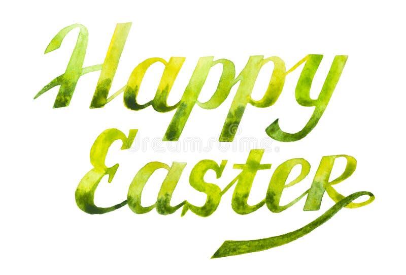 Lycklig påsk - vattenfärgbokstäver vektor illustrationer