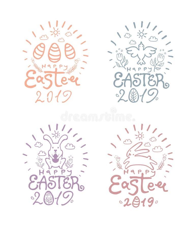 Lycklig påsk 2019 Vektoruppsättning av fyra klistermärkear med två hoppa påskkaniner, konstbokstäver vektor illustrationer