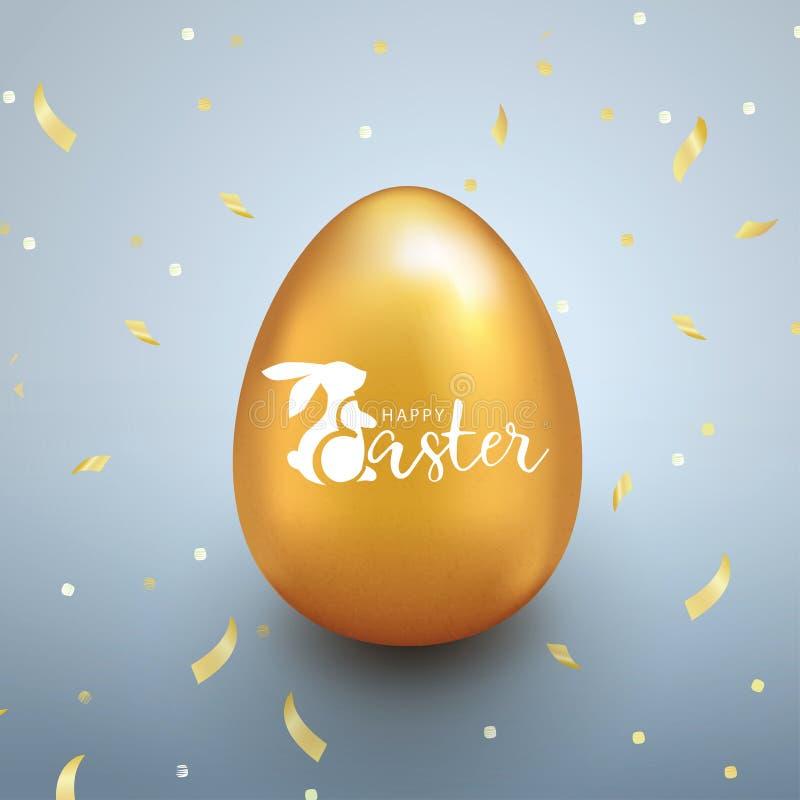 Lycklig påskbakgrund med det guld- ägget och konfettier i realistisk stil royaltyfri illustrationer