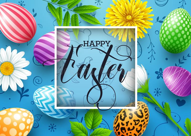 Lycklig påskbakgrund med kulöra dekorerade ägg, blommor, sidor och gulliga klotter på blå bakgrund royaltyfri illustrationer