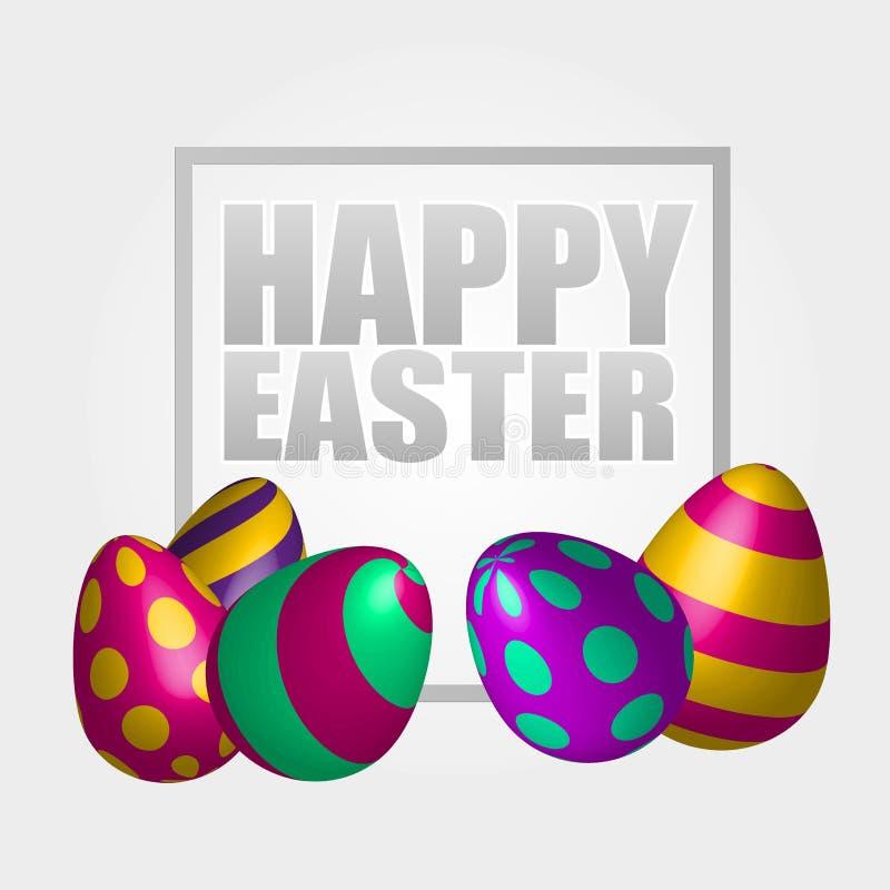 Lycklig påskbakgrund med realistiska dekorerade ägg Hälsningkortdesign vektor illustrationer