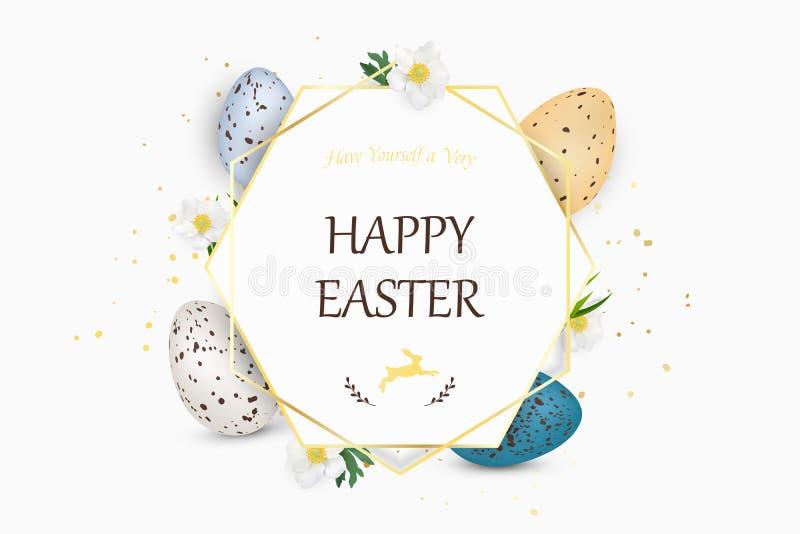 Lycklig påskbakgrund med realistiska dekorerade vaktelpåskägg Dekorativ ram med ägg, vårblommor, gräs royaltyfri illustrationer