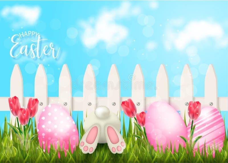 Lycklig påskbakgrund med staketet och ägg i gräs stock illustrationer