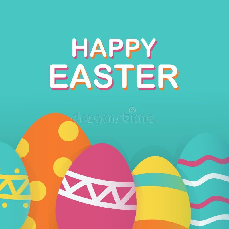 Lycklig påskbakgrundsmall med härliga ägg För jakt- eller försäljningsbaner för lycklig påsk stor bokstäver med färgrika ägg stock illustrationer