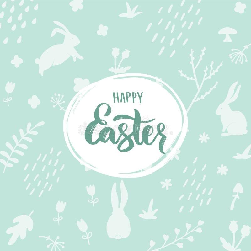 Lycklig påskbokstäver på ljus - grön bakgrund med kaninkonturn och blom- dekorativa beståndsdelar vektor illustrationer