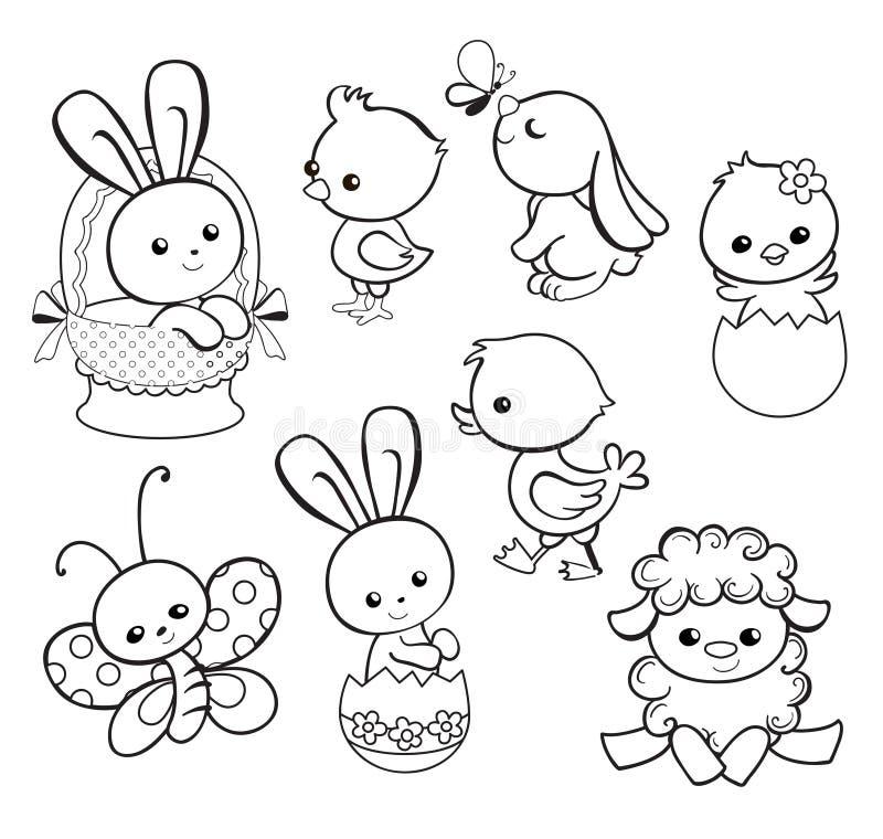 Lycklig påskferieillustration med gullig höna, kanin, and, lamm