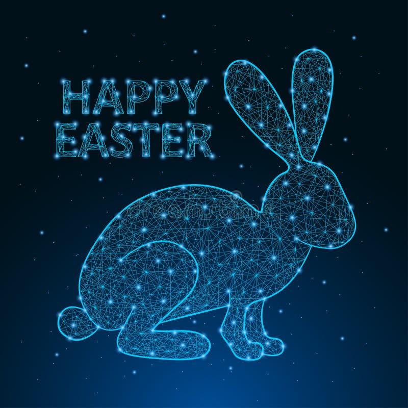 Lycklig påskillustration som göras av det polygonal wireframeingreppet med låg poly kanin greeting lyckligt nytt år för 2007 kort royaltyfri illustrationer