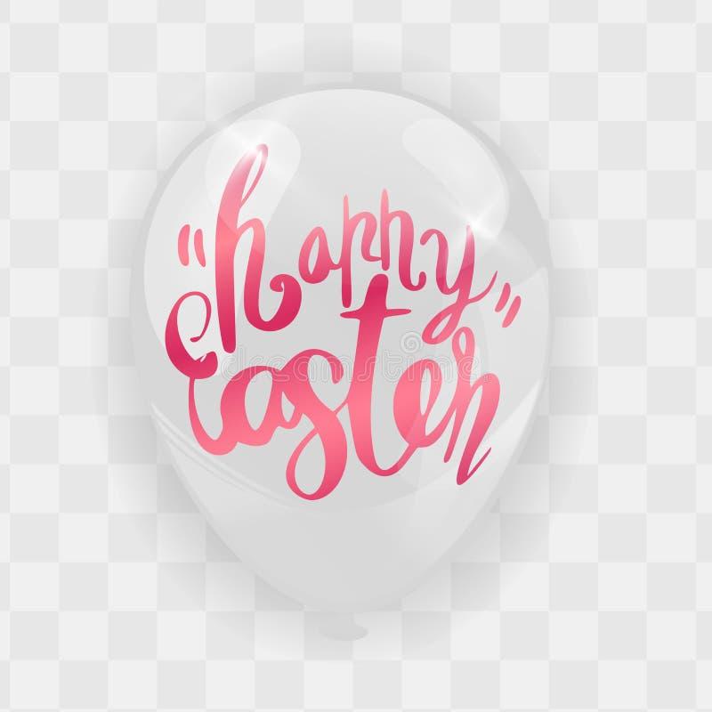 Lycklig påskkalligrafi med abstrakta Bunny Ears på ballonger royaltyfri illustrationer