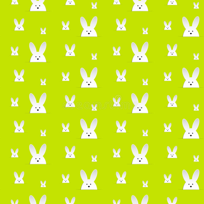 Lycklig påskkanin Bunny Green Seamless Background vektor illustrationer