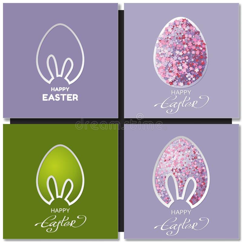 Lycklig påskkortuppsättning med kaninöron stock illustrationer