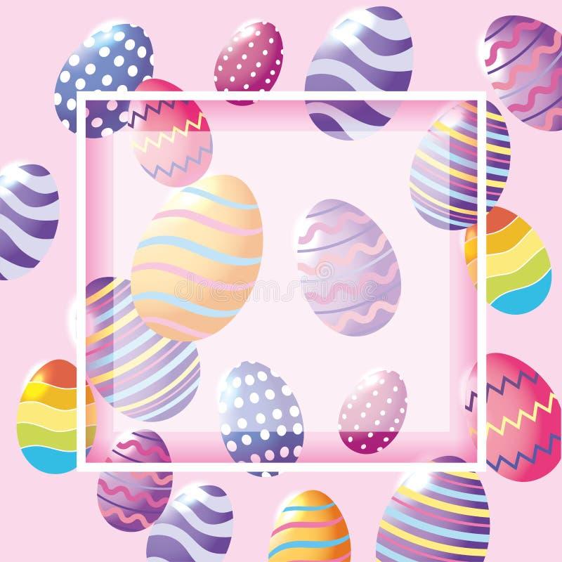 Lycklig påskram med garnering för tradition för easter ägg vektor illustrationer