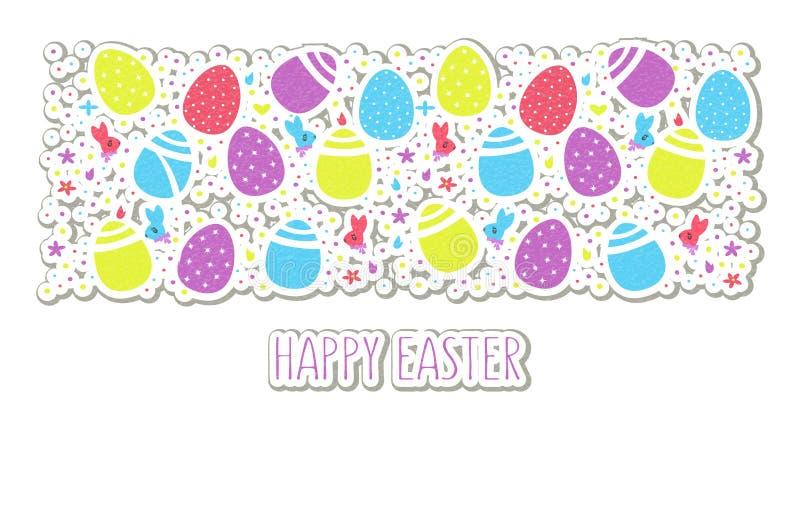 Lycklig påsktext på färgrika ägg, blommor, festliga konfettier, hare och hönabakgrund för affischen, emblem, baner, etikett och royaltyfri illustrationer