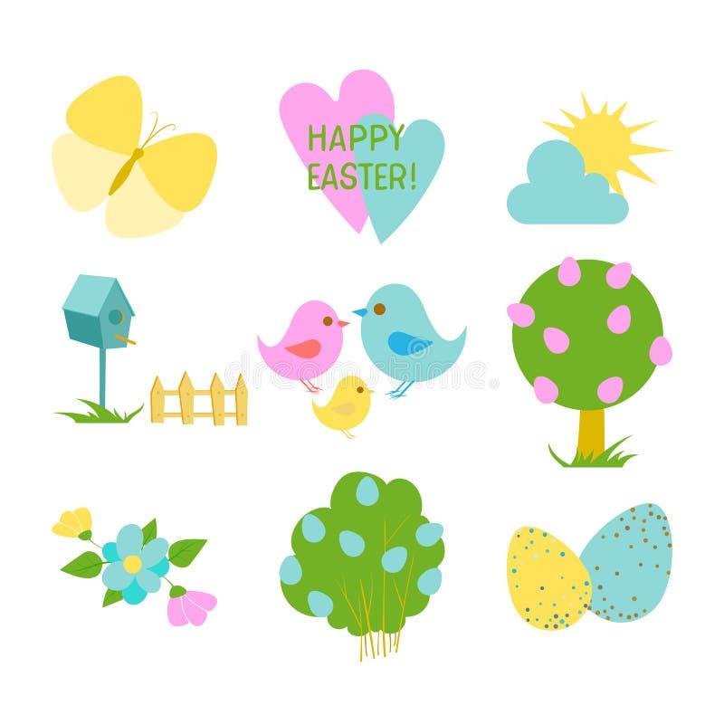 Lycklig påskuppsättning med gulliga beståndsdelar för hälsa eller inbjudankort Äggjakter, fåglar, vårlynne och blommor royaltyfri illustrationer