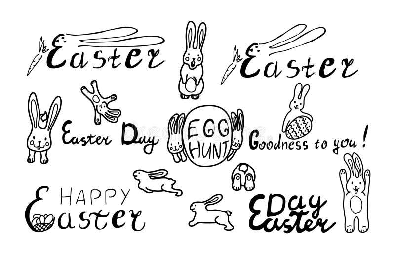 Lycklig p?skupps?ttning med den roliga kaninen och ?gg bokst?ver vektor illustrationer
