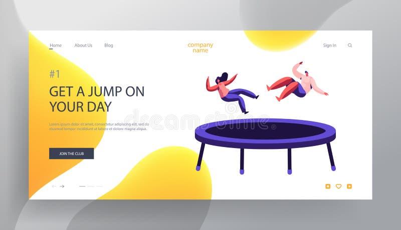 Lycklig parbanhoppning på sidan för trampolinWebsitelandning, konditionmitt, studio, dragning, fritid, sportakrobatikutbildning stock illustrationer