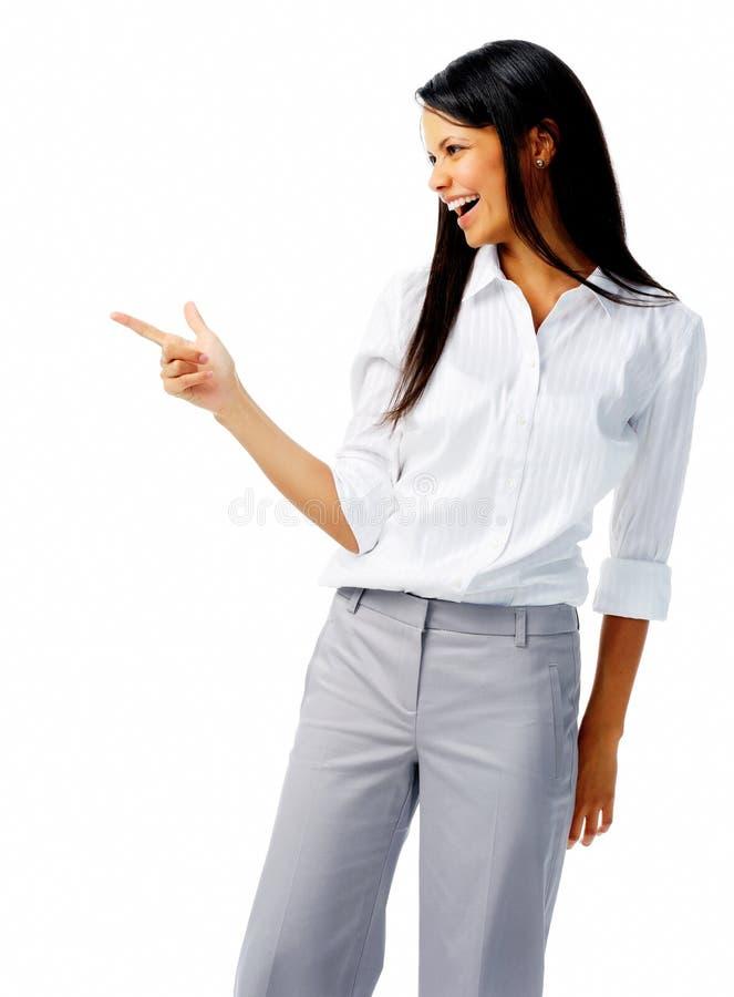 lycklig pekande kvinna royaltyfri foto