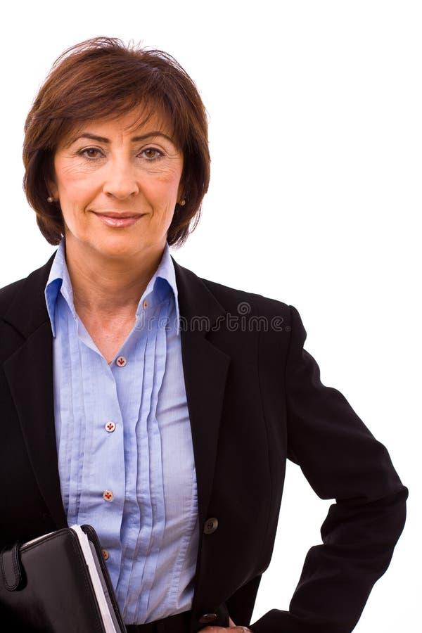 lycklig pensionär för affärskvinna arkivfoto