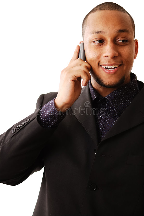 lycklig phonecall royaltyfria bilder