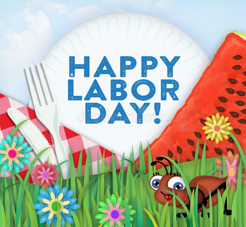 Lycklig picknickkonst för arbets- dag stock illustrationer
