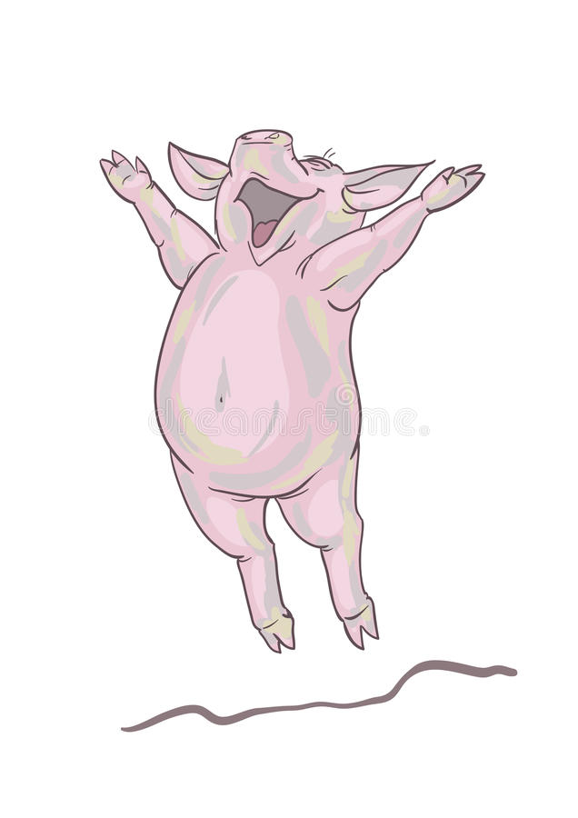 lycklig pig stock illustrationer