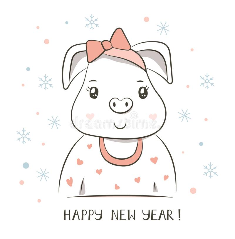 Lycklig pig Kinesiskt nytt år 2019 greeting lyckligt nytt år för 2007 kort Tecknad filmzodiak stock illustrationer