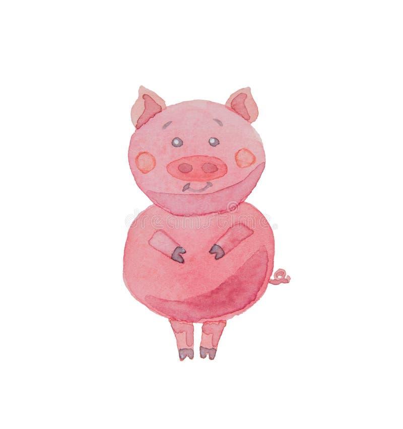 Lycklig piggy dragen vattenfärg på en vit bakgrund vektor illustrationer