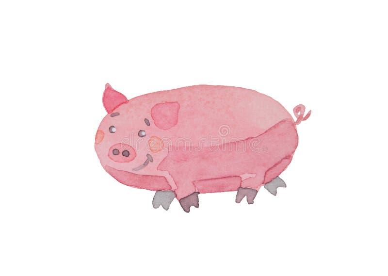 Lycklig piggy dragen vattenfärg på en vit bakgrund stock illustrationer