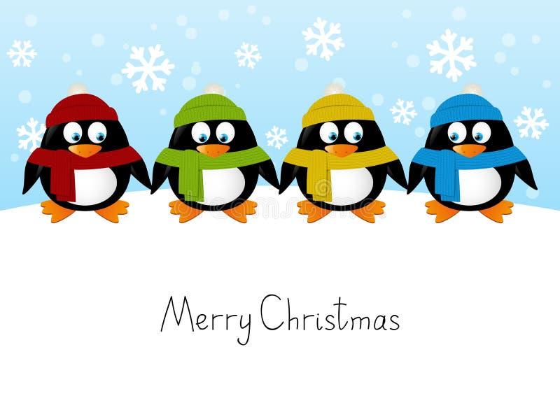 Lycklig pingvinfamilj vektor illustrationer