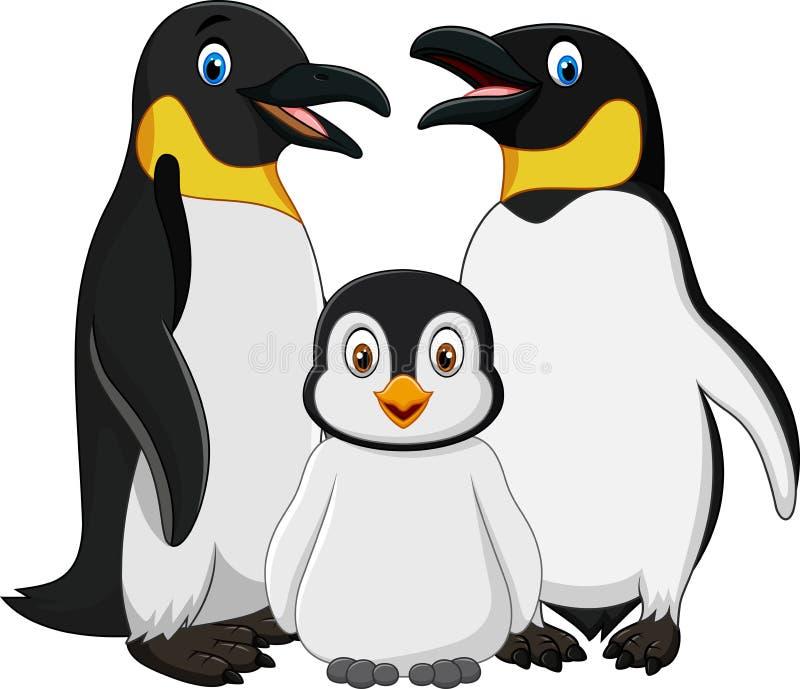 Lycklig pingvinfamilj för tecknad film som isoleras på vit bakgrund royaltyfri illustrationer