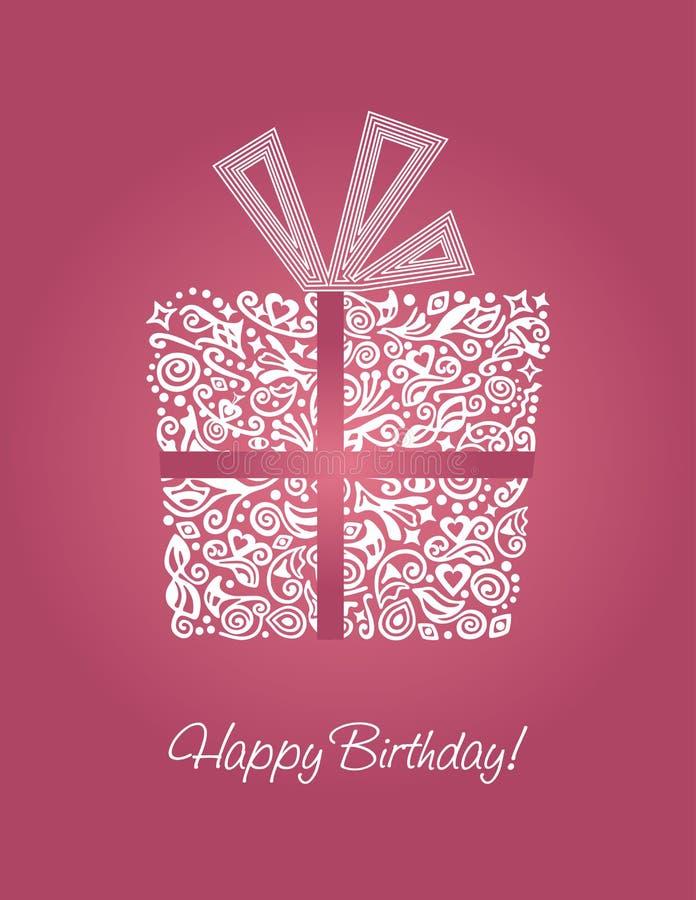 lycklig pink för födelsedagkort royaltyfri illustrationer