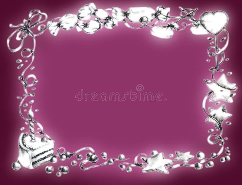 lycklig pink för födelsedagram vektor illustrationer