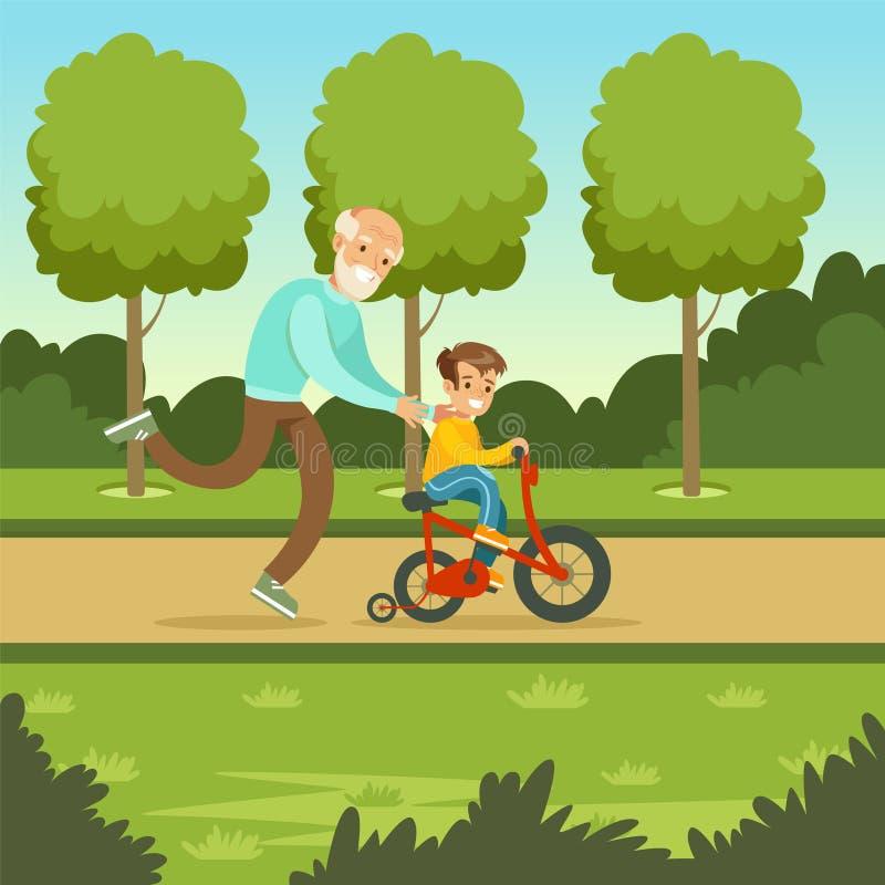 Lycklig pojke för farfarundervisningunge som rider cykeln vektor illustrationer