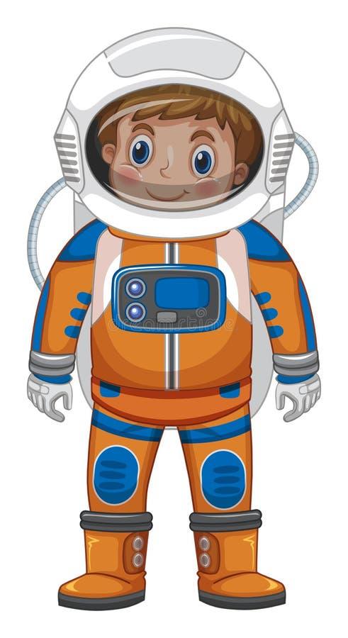 Lycklig pojke i astronautdräkt vektor illustrationer