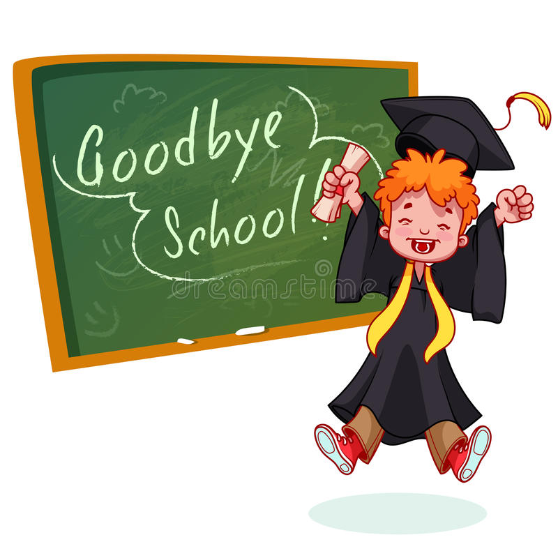 lycklig pojke mycket Avlägga examen i kappa och med ett diplom i hand vektor illustrationer