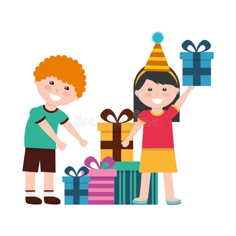 Lycklig pojke och flicka med ber?m f?r f?delsedagg?vor royaltyfri illustrationer