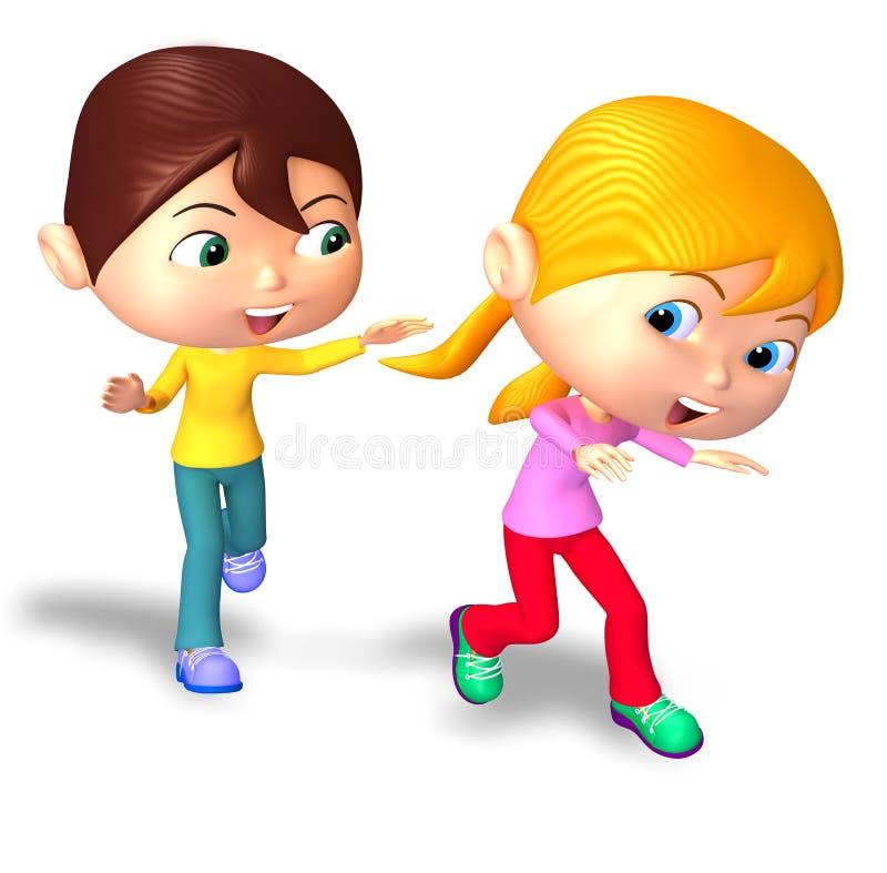Lycklig pojke och flicka som spelar etiketten vektor illustrationer