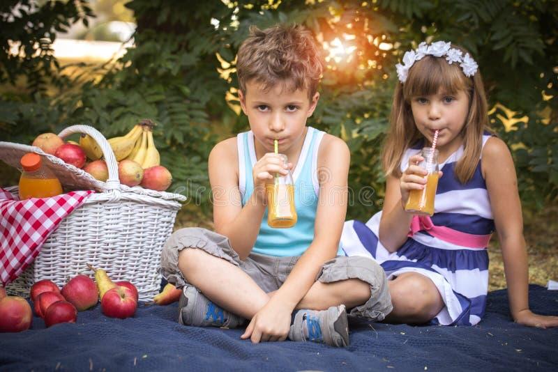 Lycklig pojke- och flickadrinkfruktsaft royaltyfria bilder