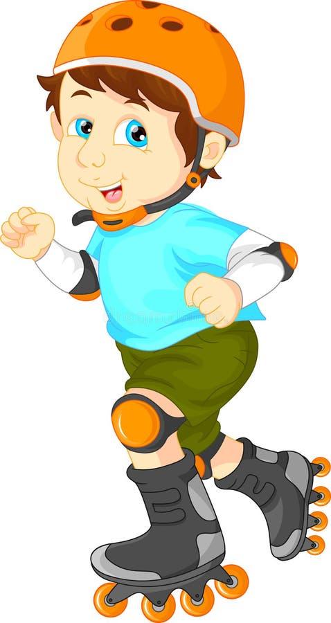 Lycklig pojke på rullskridsko vektor illustrationer