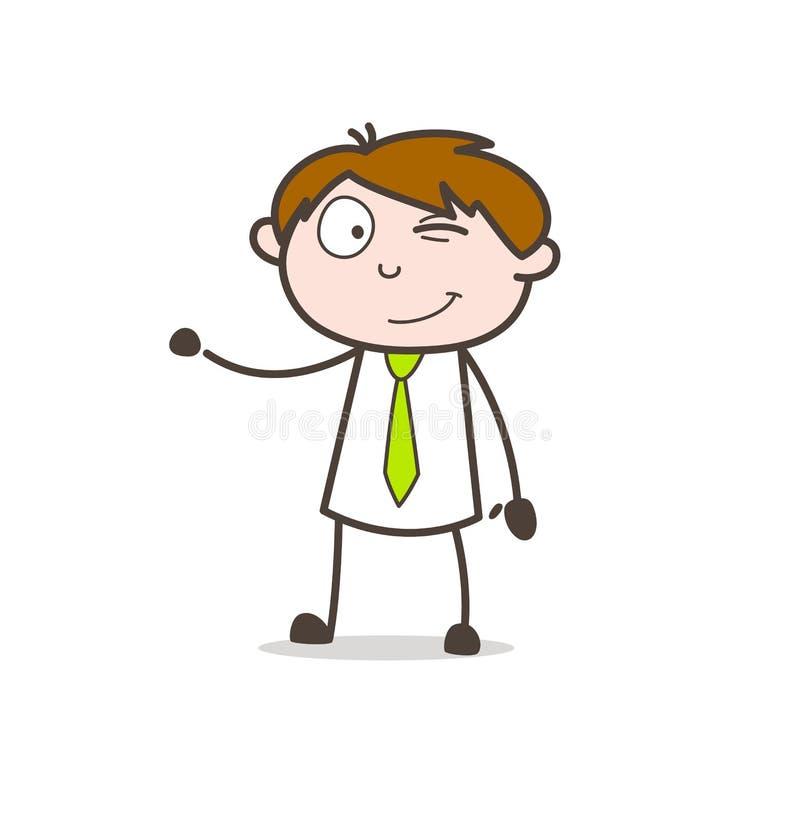 Lycklig pojke som blinkar ögonframsidan stock illustrationer