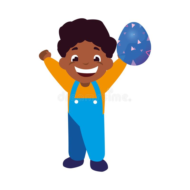 Lycklig pojke som rymmer det easter ägget vektor illustrationer