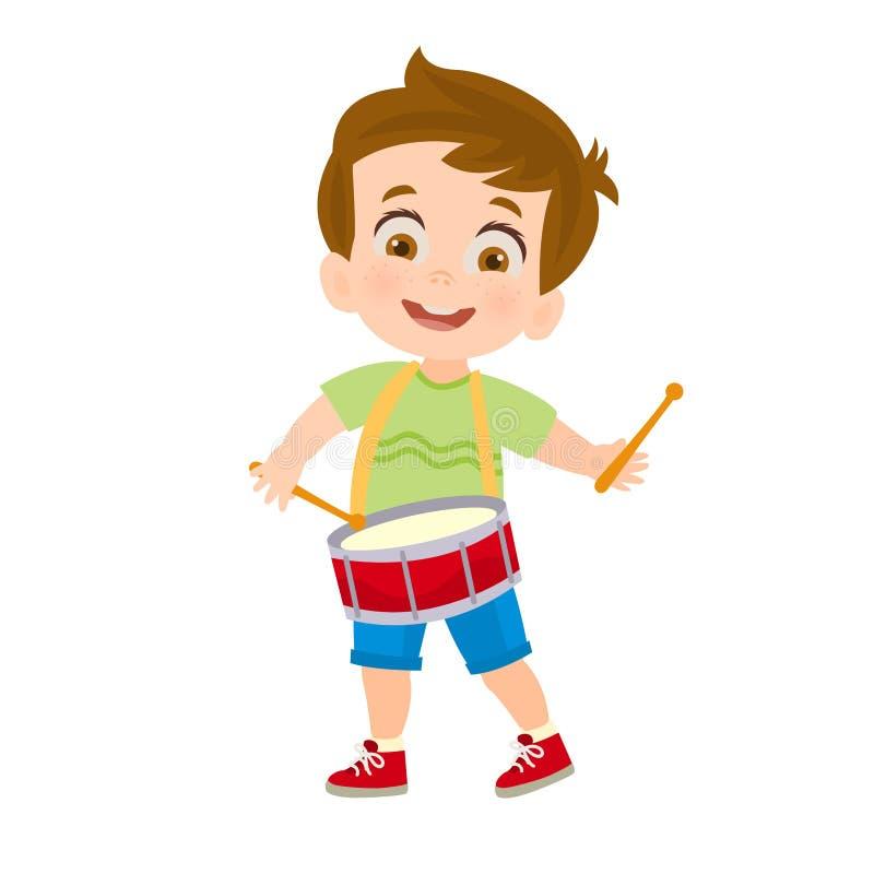 Lycklig pojke som spelar en vals vektor illustrationer