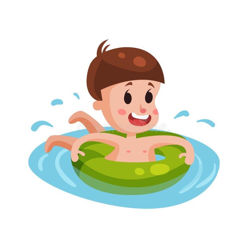 Lycklig pojkesimning med den gröna uppblåsbara bojet, unge som har gyckel i pölen eller den färgrika teckenillustrationen för hav stock illustrationer