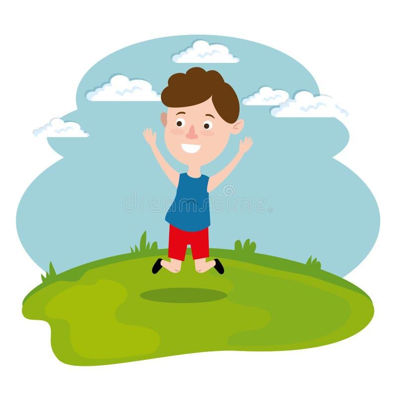 Lycklig pojkespring i fältet vektor illustrationer