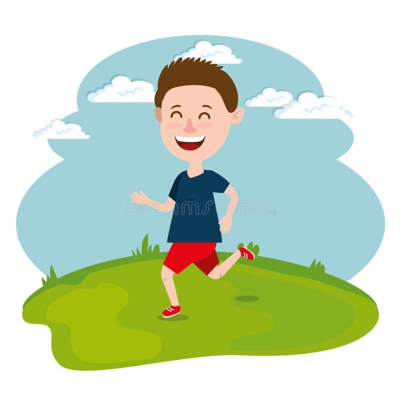 Lycklig pojkespring i fältet royaltyfri illustrationer